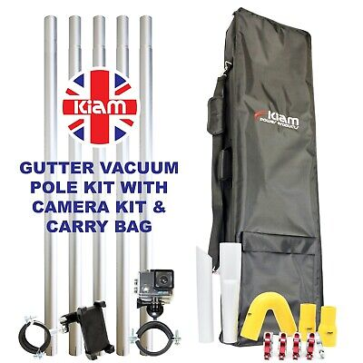 20ft 6m Gutter Vacuum Pole Kit Drain Cleaning & 4K Inspection Camera & Holdall