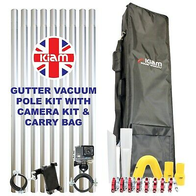 36ft 10.8m Gutter Vacuum Pole Kit Drain Cleaning & 4K Inspection Camera Holdall