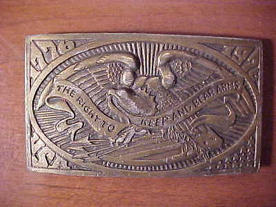 BEAUTIFUL Right to Keep & Bear Arms 1976 Solid Brass Belt Buckle Mens #M478