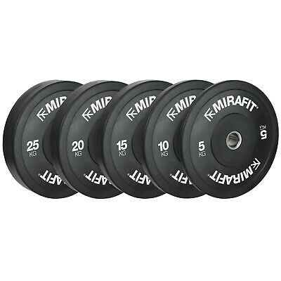 "Mirafit Black 2"" Olympic Rubber Bumper Plates Weight Lifting Discs Gym Weights"