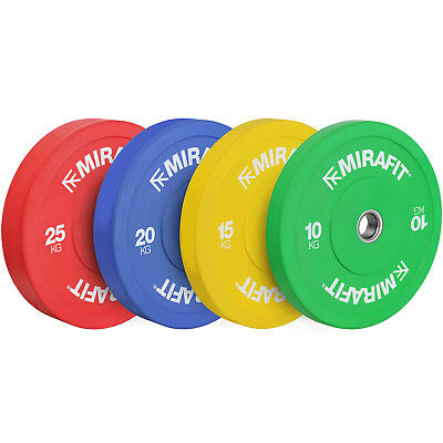 """Mirafit Colour Coded 2"""" Olympic Rubber Bumper Plates Weight Discs Gym Weights"""