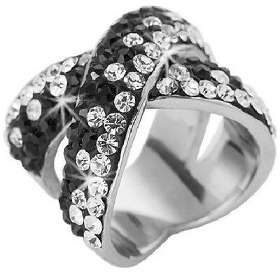 b50eaadb9 GLAM Pave Set Black Criss Cross Made with Swarovski Crystal Stainless Steel  Ring