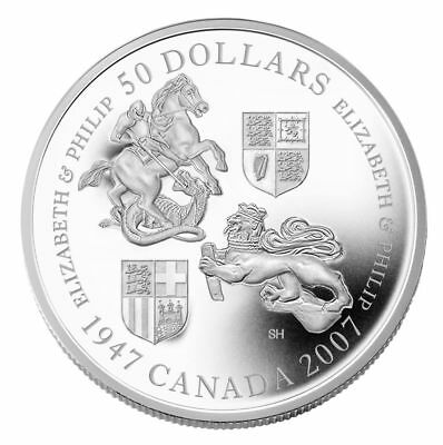 Queen Elizabeth 60th Wedding Anniversary - 2007 Canada $50 Fine Silver Coin