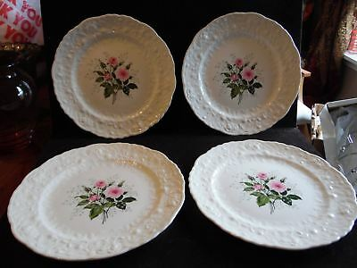 """4 Vintage 10"""" Dinner Plates in Rose Point by Steubenville Pink Roses"""