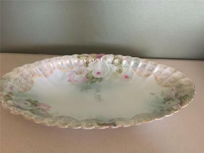 Antique German China Celery Dish Gorgeous  Hand Painted White Roses!