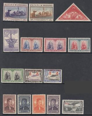 Spain 1930 mint hi val selection 15 diff stamps cv $41.25