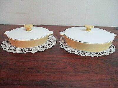 "Vintage Corning Ware 10"" Skillet & 8.5"" Skillet Butter Cream Yellow with Lids"
