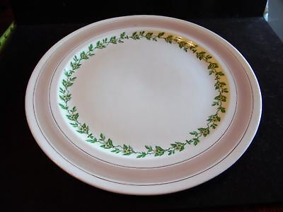 """White Orange Blossom Flowers Green Leaves & Tan Band Steubenville 14"""" Charger"""