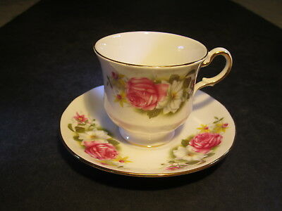Ornate Queen Anne Bone China England Floral Decorated Cup & Saucer Set
