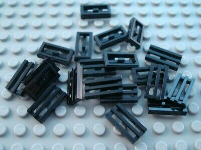 LEGO Lot of 20 Black 1x2 Flat Grill Tile Pieces