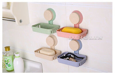 Strong Suction Wall Sucker Bath Soap Dish Holder Bathroom Shower Cup Basket Tray
