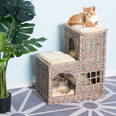 3-Tier Wicker Cat Condo Lounge Bed Indoor Outdoor Play House w/ Soft Cushions