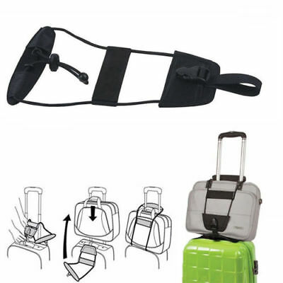 Black Add A Bag Strap Luggage Suitcase Adjustable Belt Carry On Bungee Travel ST