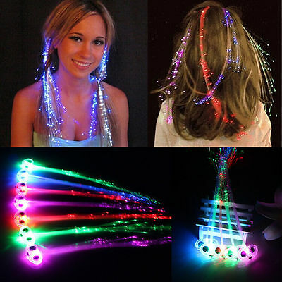 15x LED Light Up Hair Extensions Fiber Optic Luminous Hair Clip Party Decorative