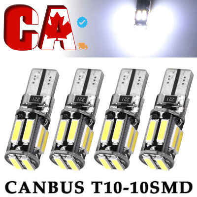 4X Cool White 7020 T10 Led Canbus Error Free Interior License Plate Tail Lights