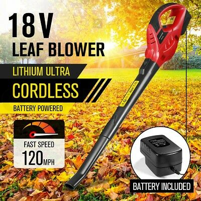 Cordless Leaf Blower 2-Speed Battery Powered Garden Cleaner Tool W/ Soft Handle