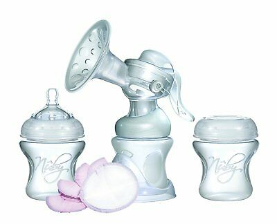 NEW Nuby Natural Touch Comfort Manual Breast Pump & Bottles Starter Kit