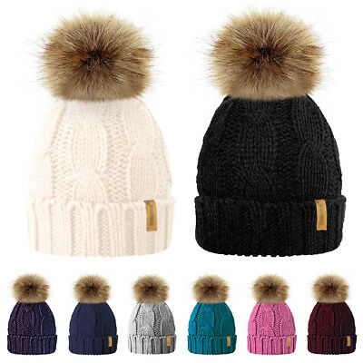 Women Kids Baby Mom Warm Winter Knit Beanie Fur Pom Pom Hat Crochet Ski Cap AY