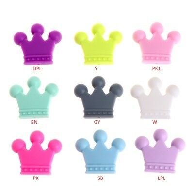 5 Pcs Silicone Beads Pendant Crown Shape Baby Teether Relief Pain DIY Necklace