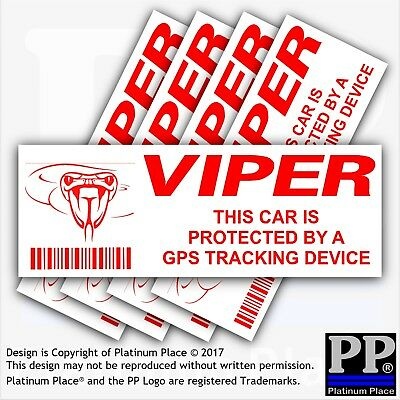 5 x CAR-VIPER GPS Tracking Device-External Stickers-Vehicle,Warning,Security