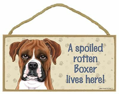 Spoiled Rotten Boxer UnCropped Ears Dog 5 x 10 Wood SIGN Plaque USA Made