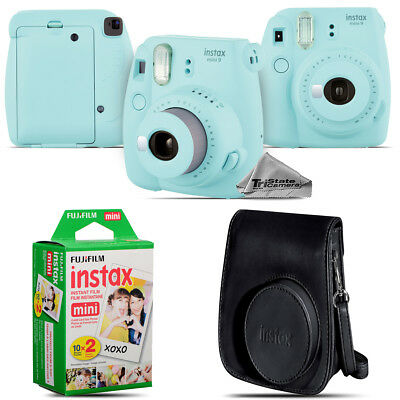 Fujifilm instax mini 9 Film Camera (Ice Blue) + Black Case - 20 Films Kit