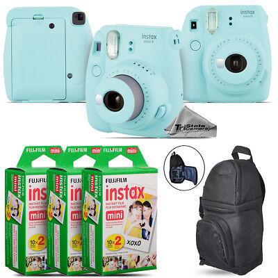 Fujifilm instax mini 9 Film Camera (Ice Blue) + BackPack - 60 Films Kit
