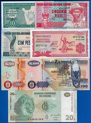 African Five Different Countries Uncirculated Banknotes Set # 1