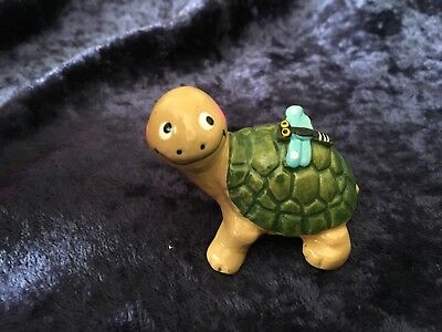 Ceramic Turtle Figurine With Butterfly on its Glazed Shell