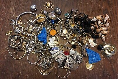 Vintage Retro Mixed Jewelry Parts Repair Upcycle Lot Beads Findings Destash  Z