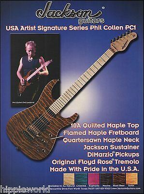 Def Leppard Phil Collen 2001 Signature Jackson Charvel PC1 Guitar 8 x 11 ad