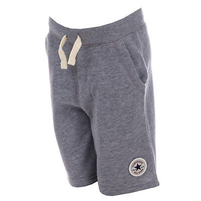 Boys Converse Core French Terry Ctp Shorts Grey Heather- Pockets To Sides-Ribbed