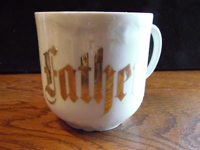 Antique Embossed White Father Mug Germany Gold Letters