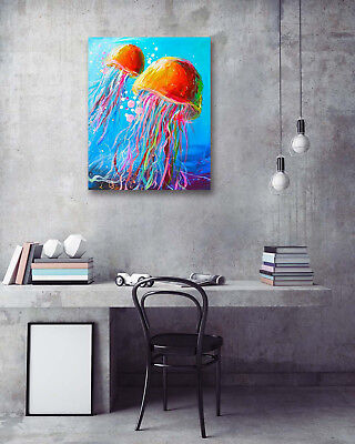 Seabed Colored Jellyfish Modern Art Poster Print Wall Room Decor Canvas Painting