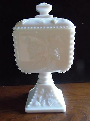 "9 1/4"" T Westmoreland Beaded Grape Panel Milk Glass Footed Candy Dish w/ Lid"