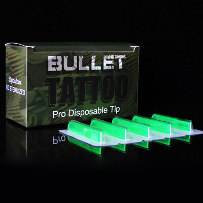 50Pcs 1 Box Packaged Disposable Sterile Tattoo Tips Green Color RT FT 12 Size