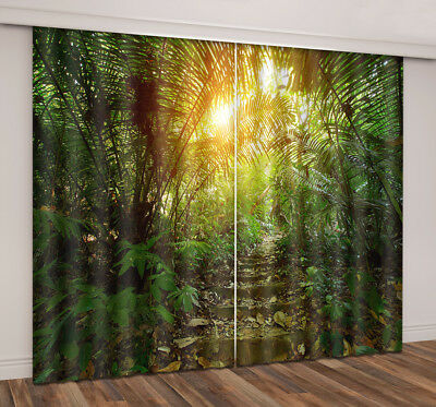 3D Palm Forest Path Blockout Photo Print Curtain 2 Panels Drapes Fabric Window
