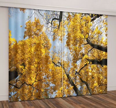 3D Glod Leaves Forest Blockout Photo Print 2 Panels Curtain Drapes Fabric Window