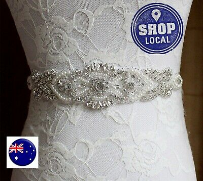 Women Bride Crystal Rhinestone Pearl Waist Dress Sash Belt Waistband Band Tie