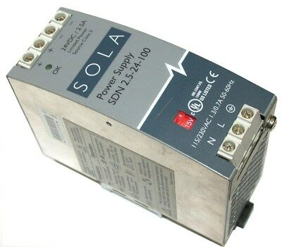 Sola Power Supply 24 Volt Dc 2.5 Amps Sdn 2.5-24-100
