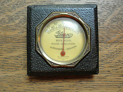 Gimco Products thermometer; Rock Wood House Insulation, old, leathered