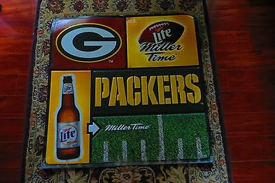 It's Miller Time State of endzone shaped Green Bay Packer football beer sign