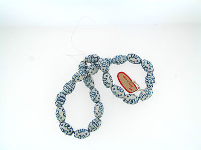 Vintage NOS Asian NOS Blue White Indented Texture Oblong Ceramic Beads Strand