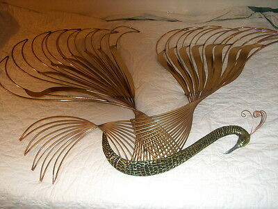 Curtis Jere Signed Peacock Bird of Paradise Wall Art Sculpture Mid-Century 1987