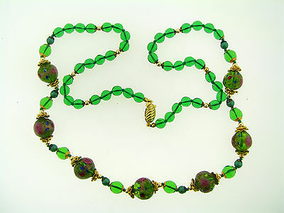 Vintage Italian Murano Art Glass Rare Green Wedding Glass Bead Long Necklace