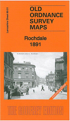 Old Ordnance Survey Map Rochdale 1891 Lord Street Grasmere Street Butts Mill