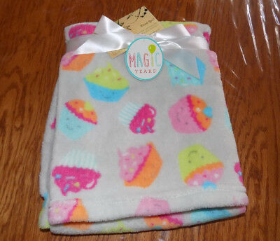 Blanket Magic Years Gray W/ Cupcakes Bright Colors Girl Boy Soft Fleece Icing