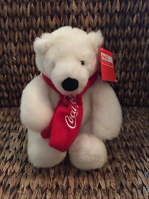 "NEW 2010 Coca Cola 8"" Plush Sitting White Polar Bear with Red Scarf"