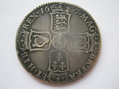 1697 William III Halfcrown NF old cleaning