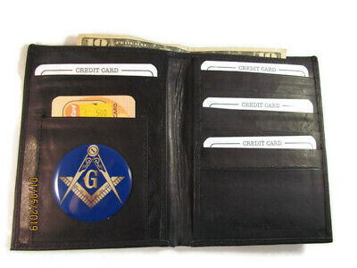 86075731fe6d BLACK LEATHER BIFOLD Passport Wallet Card Holder Mason Masonic New
